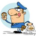 happy police officer eating donut with a bag of dounuts in his hand gif, png, jpg, eps