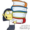 Asian School Girl In White Blouse and Black Skirt Carrying Four Books