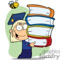 A Little Blond Graduate With Cap and Gown Holding Books