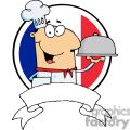 cartoon male chef serving food in a sliver platter in front of flag of france banner gif, png, jpg, eps