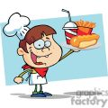 boy chef holding hot dog drink and french fries