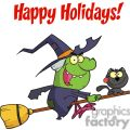 Happy Holidays Greeting With Harrison Rode A Broomstick with A Cat