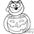 Cartoon Character Halloween Black Cat Sitting Inside Of A Pumpkin