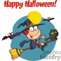 happy holidays greeting with halloween little witch gif, png, jpg, eps