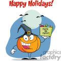 Happy Holidays Greeting With Pumpkin holds bucket of candy copy2