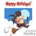 2254-Happy-Holidays-Greeting-With-Witch-rides-broom-copy1