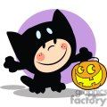 Child in Halloween Cat suit with a pumpkin