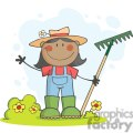 farmer girl with a rake in grass with flowers
