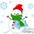 snowman with red hat and ice skates