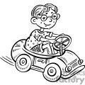 small boy driving a toy car