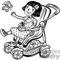small girl in her stroller gif, png, jpg, eps, svg, pdf