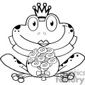 Cartoon-Bride-Frog-Character-BW