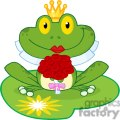 Cartoon-Bride-Frog-Character-on-lilypad