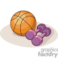 Cartoon basketball and weights