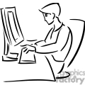 black and white outline of a student typing at a computer  gif, png, jpg, eps, svg, pdf