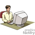 Cartoon student working on a computer