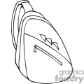 black and white outline of a backpack with one strap