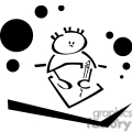 Black and white outline of a little boy learning