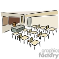 Cartoon classroom with desks and chairs