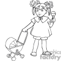 black and white outline of a little girl with a baby stoller