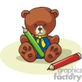 Cartoon teddy bear with a red and green crayon