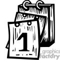 black white calendar 1st