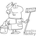 black and white outline of a cartoon cleaning lady
