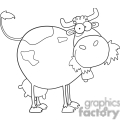 black and white outline of a cow