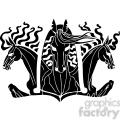 three horse head design