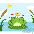 102513-cartoon-clipart-crowned-frog-prince-on-a-leaf-in-lake  gif, png, jpg, eps, svg, pdf