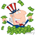 Cartoon Uncle Sam holding cash from quantitative easing