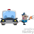 cartoon police and car