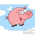 Royalty-Free-RF-Copyright-Safe-Happy-Pig-Flying-In-A-Blue-Sky