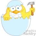 Royalty-Free-RF-Copyright-Safe-Yellow-Chick-With-A-Big-Toothy-Grin-Peeking-Out-Of-An-Egg-Shell-With-Hammer
