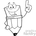 Royalty-Free-RF-Copyright-Safe-Pencil-Guy-Wearing-A-Number-One-Glove