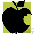 12912 RF Clipart Illustration Bitten  Apple Black Silhouette With Green Background