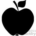 12908 RF Clipart Illustration Apple Black Silhouette