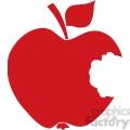 12910 RF Clipart Illustration Bitten Apple Red Silhouette
