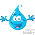 12856 RF Clipart Illustration Happy Water Drop With Welcoming Open Arms