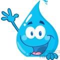 12861 RF Clipart Illustration Happy Water Drop Over A Sign Waving