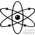 12836 RF Clipart Illustration Black And White Atom
