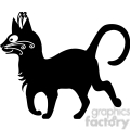 vector clip art illustration of black cat 086
