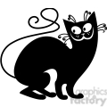 vector clip art illustration of black cat 100