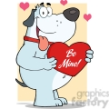 5242-Fat-Gray-Dog-Holding-Up-A-Red-Heart-Royalty-Free-RF-Clipart-Image