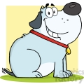 5219-Happy-Fat-Gray-Dog-Cartoon-Mascot-Character-Royalty-Free-RF-Clipart-Image
