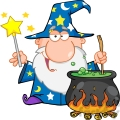Royalty Free Funny Wizard Waving With Magic Wand And Preparing A Potion