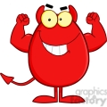 Royalty Free Strong Devil Easter Egg Cartoon Character