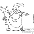 Clipart of Funny Wizard Waving With Magic Wand And Holding Up A Scroll