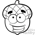 clip art of black white happy acorn vector illustration  gif, png, jpg, eps, svg, pdf