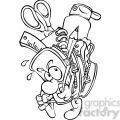 black and white cartoon backpack full of school supplies  gif, png, jpg, eps, svg, pdf